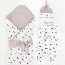 Купить комплект на выписку супермамкет летний (комбинезон, шапочка, плед, лента) лесные ежики kompl-l02/лесн.ежики
