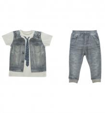 Купить комплект футболка/брюки папитто fashion jeans, цвет: серый/синий ( id 6071119 )