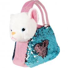"""Купить мягкая игрушка fluffy family """"котенок в сумочке с пайетками"""", 19 см, бело-розовая ( id 12969774 )"""