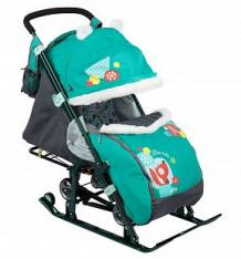 Санки-коляска Nika Kids (7-2), цвет: коллаж-лисичка/изумруд ( ID 6510631 )