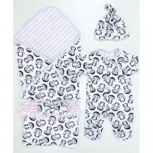 Купить комплект на выписку супермамкет летний (комбинезон, шапочка, плед, пояс-бант) пингвины kompl-l01/пингвиныроз