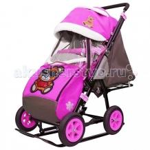 Купить санки-коляска galaxy snow city-1-1 мишка в очках колеса надувные