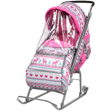 Купить санки-коляска ника детям умка 3/3, принт вязаный розовый ( id 7120375 )