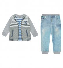 Купить комплект кофта/брюки папитто fashion jeans, цвет: серый/голубой ( id 9476994 )