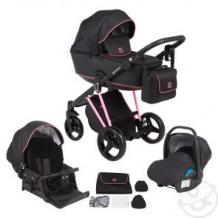 Купить коляска 3 в 1 adamex cristiano, цвет: розовый/черный ( id 11611090 )