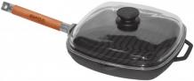 Купить биол сковорода-гриль чугунная съемная ручка и крышка 26 см 1026с
