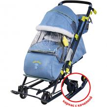 """Купить санки-коляска nika """"ника детям 7-7"""", синие в джинсовом стиле ( id 12865779 )"""