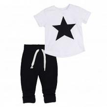 Купить комплект футболка/брюки грачонок, цвет: белый/синий ( id 12662536 )