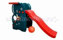 Купить горка happy box волна слон с баскетбольным кольцом и мячом jm-765w