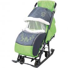 """Купить санки-коляска nika """"ника детям 7-1"""", серые с зелёным ( id 12865785 )"""