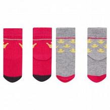 Купить комплект носки 2 пары fun time, цвет: малиновый/серый ( id 12630364 )