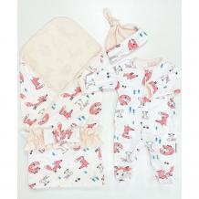 Купить комплект на выписку супермамкет летний (комбинезон, шапочка, плед, пояс-бант) лисы kompl-l01/лисы