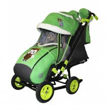 Купить санки-коляска galaxy snow city-2-1 совушки на больших надувных колёсах snow galaxy city-2-1 совушки на зелёном