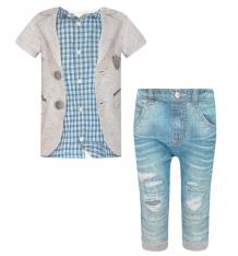 Купить комплект футболка/брюки папитто fashion jeans, цвет: синий/фиолетовый 511-04 80