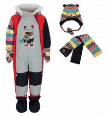 Купить комплект fobs комбинезон/шарф/варежки/пинетки, цвет: красный ( id 9817098 )