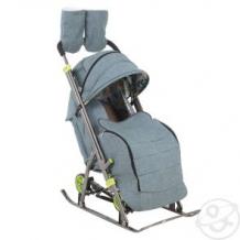 Купить санки-коляска galaxy, цвет: строчка/джинс серый с зеленым ( id 11517880 )