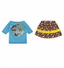 Купить комплект футболка/юбка pelican, цвет: голубой ( id 2689124 )