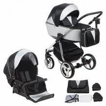 Купить коляска 2 в 1 adamex sierra special edition, цвет: кожа серебрянная/черный ( id 11542006 )
