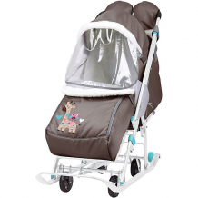 """Купить санки-коляска nika """"наши детки"""", шоколадные с жирафом ( id 12865825 )"""