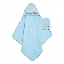 """Купить полотенце mothercare с уголком """"кубики"""", цвет: голубой mothercare 4223199"""