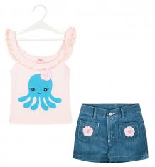 Купить комплект топ/шорты allini, цвет: розовый/синий ( id 9118453 )