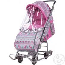 Купить коляска комбинированная nika kids умка 3-1, цвет: вязанный/розовый ( id 11871322 )