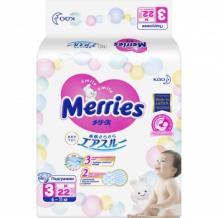 Подгузники MERRIES, размер М, 6-11 кг, 22 шт. Merries 996784551