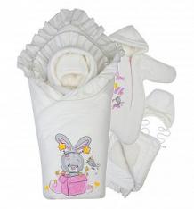 Купить комплект на выписку день рождения babyglory, цвет: розовый/бежевый одеяло/уголок/шапка/комбинезон ( id 9971991 )
