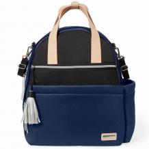 Купить рюкзак для мамы с аксессуарами skip hop neoprene diaper backpack navy, black, синий и черный skip hop 996967503
