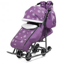 Купить санки-коляска abc academy pikate снежинки на тёмно-серой раме, фиолетовый ( id 5137219 )