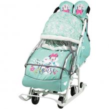 Купить санки-коляска nika baby 2 минни маус, мятные ( id 12865845 )