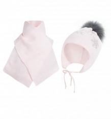 Купить комплект шапка/шарф ewa sniezynka, цвет: розовый ( id 9807051 )