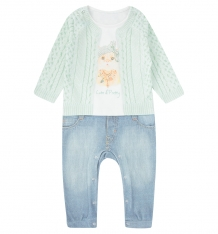 Купить комбинезон папитто fashion jeans, цвет: белый/салатовый 563-01 86