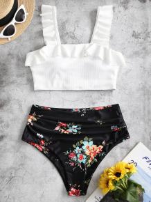 Купить zaful ruffle floral ruched ribbed tankini swimsuit ( id 464065705 )