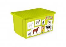 Купить little angel ящик для игрушек x-bох обучайка 57 л животные la1025об/la1025об-нк