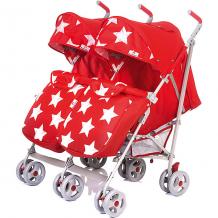 Купить коляска-трость для двойни babyhit twicey, красная со звёздами 11429408