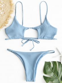 Купить zaful ribbed braided cut out bikini set 252190204
