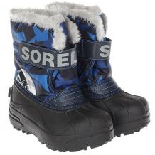 Купить детский sorel childrens snow commander abyss super blue синий,черный 1189719