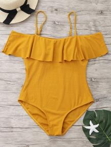 Купить ribbed knit flounce one piece swimsuit 225725702