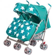 Купить коляска-трость для двойни babyhit twicey, ярко-бирюзовая со звёздами 11429412