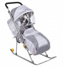 Купить санки-коляска galaxy снежинка премиум, цвет: серый ( id 3552554 )
