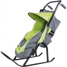 Купить санки-коляска abc academy снегурочка 2p-1, серый/зеленый ( id 5101405 )