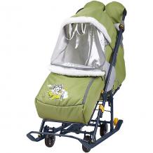 """Купить санки-коляска nika """"наши детки"""", оливковые с лётчиком ( id 12865793 )"""