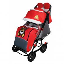 Купить санки-коляска galaxy snow city-1 мишка с бабочкой на больших колёсах snow galaxy city-1