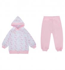 Купить комплект кофта/брюки чудесные одежки розовые собачки, цвет: белый/розовый ( id 10076478 )