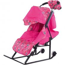 Купить санки-коляска abc academy зимняя сказка 3в, черная рама, розовый/снежинки 5101414