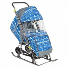 Купить санки-коляска galaxy снежинка универсал 1 зимняя ночь, цвет: олени на синем ( id 11517886 )