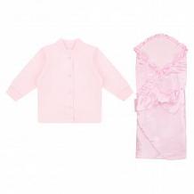 Комплект на выписку Мерцание Leader Kids, цвет: розовый одеяло/кофта/ползунки/шапочка ( ID 12334936 )