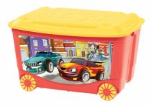Купить пластишка ящик для игрушек на колесах с декором 58х39х34 см 431380904