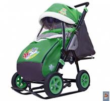 Купить санки-коляска galaxy snow city-1-1 серый зайка колеса надувные